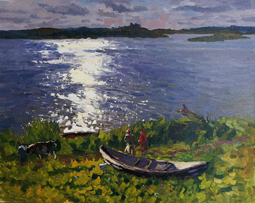 The painter Anton Vyrva. Artwork Picture Painting Canvas Landscape. Evening on the Sozh. 2011, 168 x 317 cm, oil on canvas
