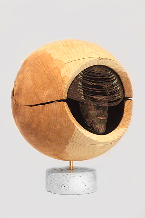 The sculptor Artem Medvedev. Modern sculpture. Wooden sculpture. Light of the Moon. Allegory of space and time. 2013, 150 x 170 x 110 cm, oak fumed oak tinted oak ash