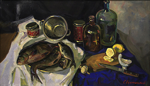 The painter Igor Sventitski. Artwork Picture Painting Canvas Composition Still life with fish. 2011, 60 x 105 cm, oil on canvas